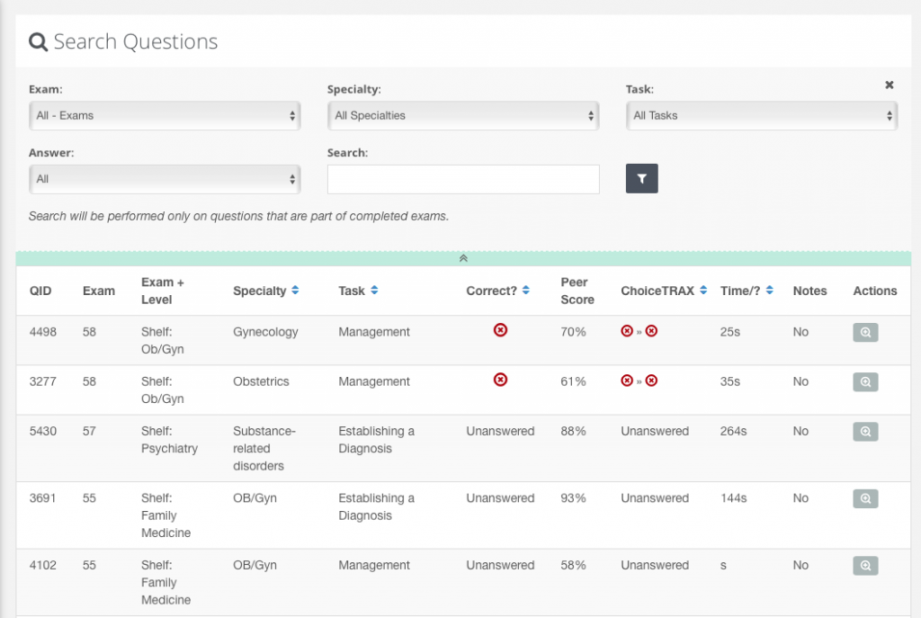 COMLEX and COMAT search functionality