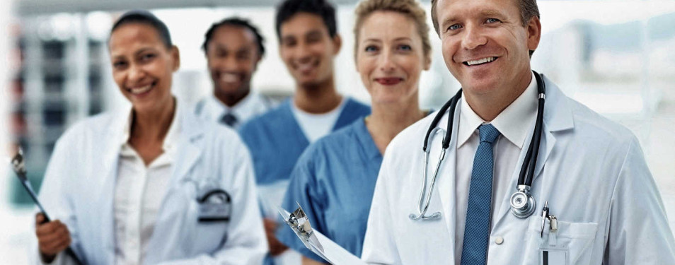 Successful team of doctors, female with the clipboard